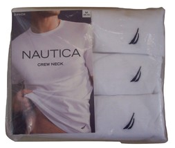 Nautica 3 Pack Crew Neck Tee Shirts Men's Sizes Medium and Large 100% Co... - $32.00