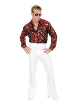 Charades Men's Flame Hologram Disco Shirt, red, Small - $69.42