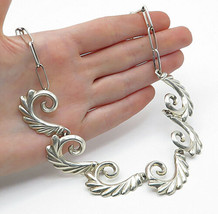 NAVAJO 925 Silver - Vintage Shiny Fluted Swirl Link Chain Necklace - N3023 - $144.98