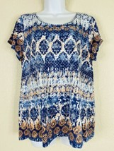 Zenergy By Chico's Womens Size 2 Medallion T-Shirt Short Sleeve Scoop Ne... - $21.60