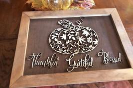"Thankful, Grateful & Blessed Harvest Pumpkin Wood 3d Home Decor 18 1/2""x 13 1/2"" - $38.60"