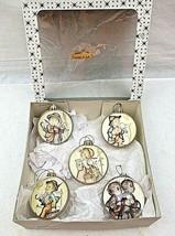 Hummel Round Hard Plastic Christmas Ornaments West Germany Set of 5 Vintage - $29.69