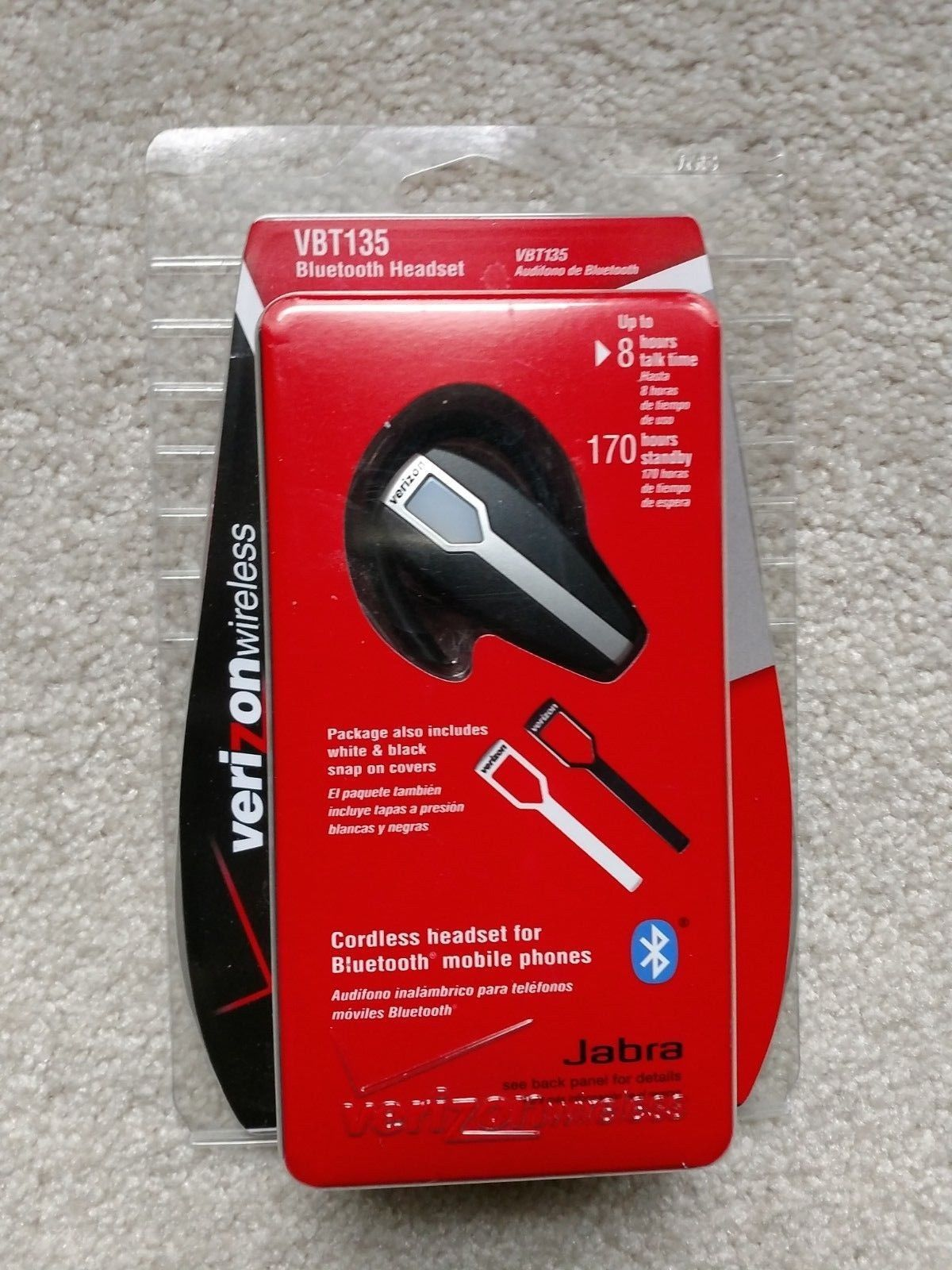 Jabra VBT135 Silver/Black/White Ear-Hook Bluetooth Phone Headset - NEW FREE SHiP