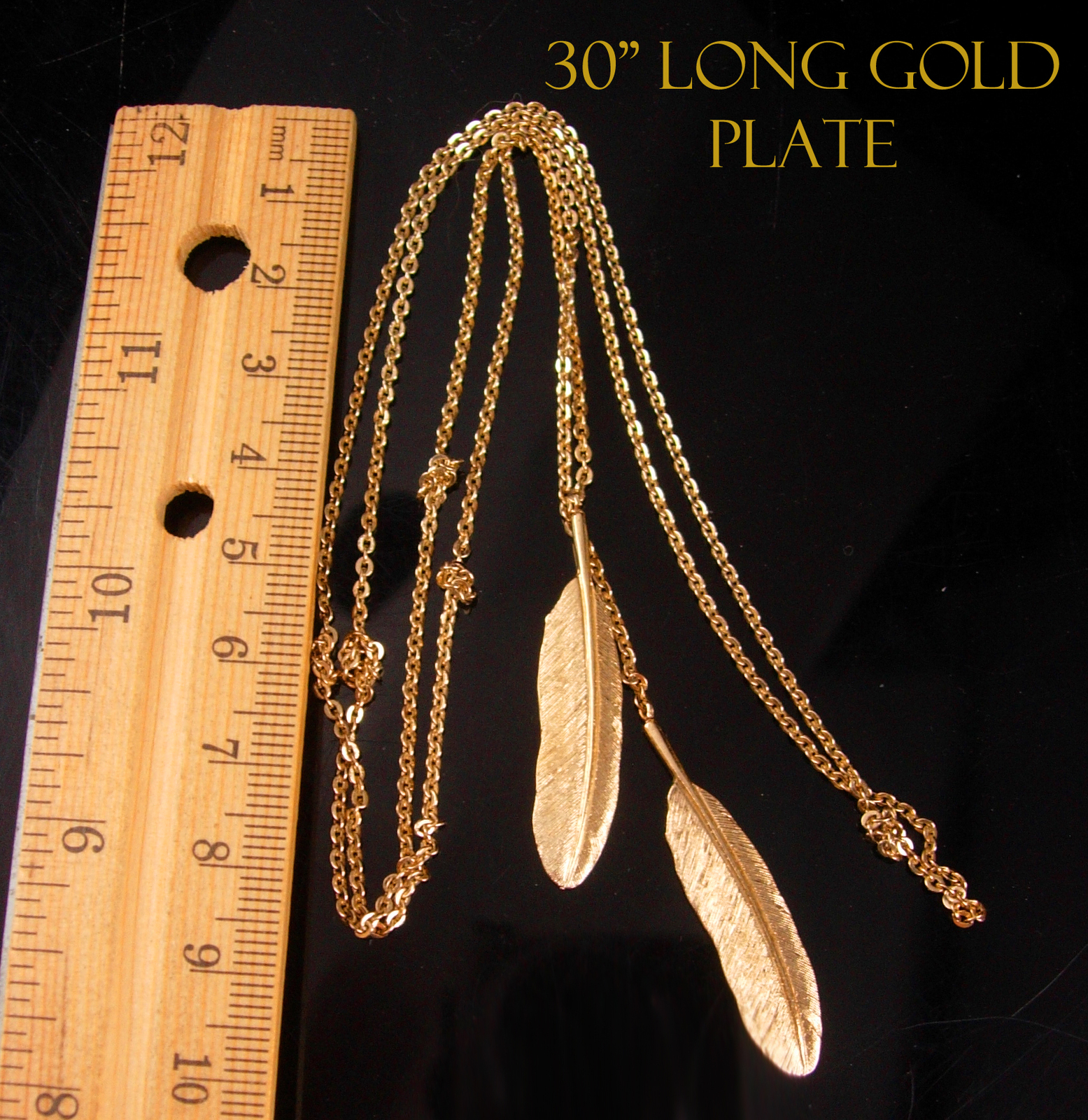 Hippie Feather Lariat Necklace - double pendant - boho jewelry - gold costume in