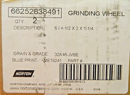 """Norton Grinding Flare Cup Wheel 32A T11 6/4.5""""x2""""x1-1/4"""" Grit 46 6625283... - $150.00"""