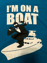 I'm On A Boat Turquoise/Royal Blue Screenprint Graphic Tshirt Surf & Sty... - $9.85