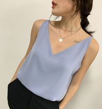 Sleeveless Pale Blue Chiffon Top V-Neck Chiffon Tank Top Bridesmaid Chiffon Top image 1