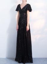 BLACK Sleeved High Waist Maxi Sequin Dress Floor Length Sequin Wedding Dresses image 4