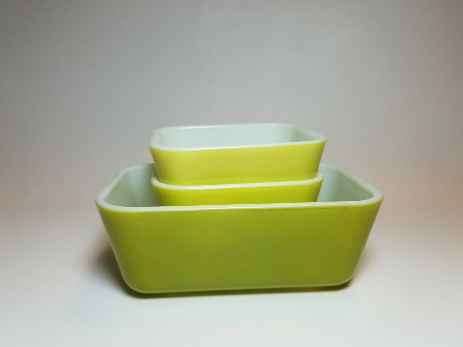 Vintage Pyrex Verde Green and Yellow 501 & 502 Refrigerator Dishes No Lids image 9