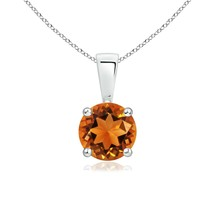 "6mm Round Heirloom AAAA Citrine Solitaire Pendant with 18"" Chain in Silver - $185.22"
