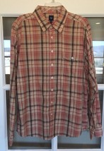 Gap Mens Button Front Shirt Long Sleeve Tan Striped Plaid Size XL Cotton - $12.99