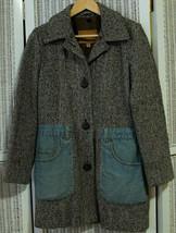 GUESS Women's Tweed & Denim Coat S Brown Herringbone & Cheviot Jeans Jac... - $56.56