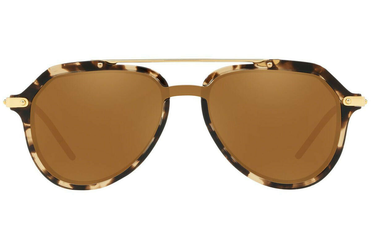 DOLCE & GABBANA PRINCE DG4330 Gold Beige Havana Mirrored Sunglasses  Unisex image 2