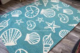 8x11 Tropical Coastal Beach Shells Starfish Turquoise Indoor Outdoor Area Rug - $495.00