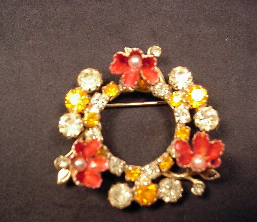 Weiss Vintage Circle Pin Rhinestones Faux Pearls Enamel Flowers - $29.21