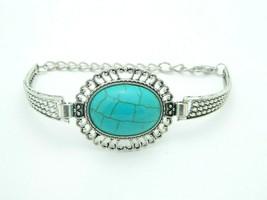 Faux Turquoise Cabochon Silver Tone Chain Link Bracelet Vintage - $13.86
