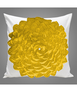 White and Yellow Ruffled Petals Cotton Pillow Sham Cover - $25.99+