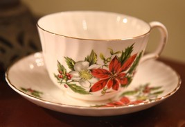ROYAL ADDERLY CHRISTMAS POINTSETTIA TEA CUP & SAUCER RIDGEWAY POTTERIES ... - $29.99