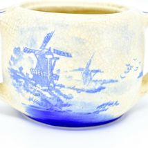 Vintage Delft Blue Style Windmill & Sailboat Nautical Scene Crock Bowl (NO LID) image 8