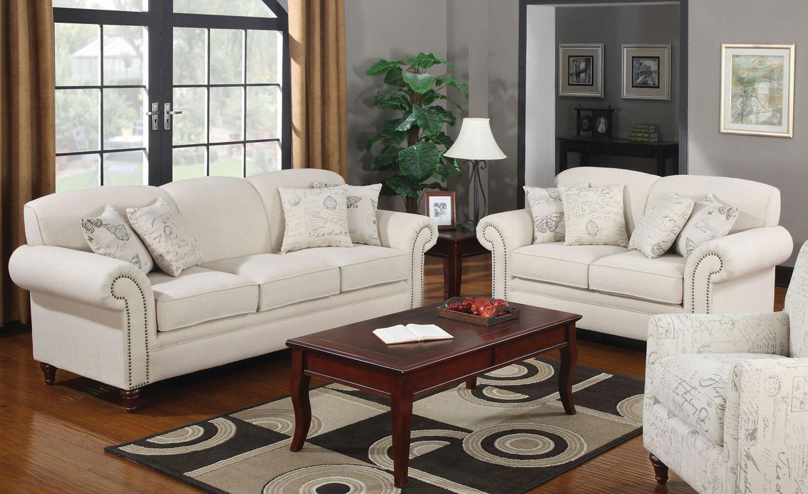 traditional design living room couch set beige fabric. Black Bedroom Furniture Sets. Home Design Ideas
