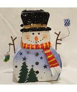 """Snowman Metal Tea Light Candle Holder Winter Christmas Tealight 8"""" - $14.99"""