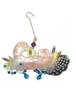 Loon Momma Baby Bird Ornament Metal Fair Trade Pilgrim Imports New - $24.70