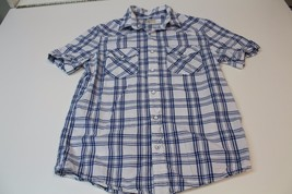 M4181 Mens OLD NAVY 100% cotton white/blue plaid BUTTON SHIRT, short sleeves, S - $5.95