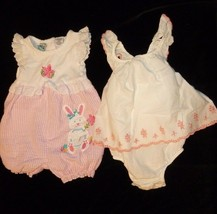 BABY GIRL SUMMER SPRING CLOTHES OUTFIT  DRESS ROMPER LOT EASTER BUNNY GA... - $18.80