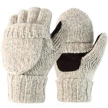 Novawo Wool Blend Knit Convertible Insulating Fingerless Gloves with Mitten - $21.29