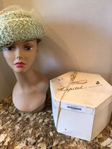 "Vintage Miss Eileen Blue Faux Straw Hat Green Ribbon Netting 7 1/2"" With... - $14.65"