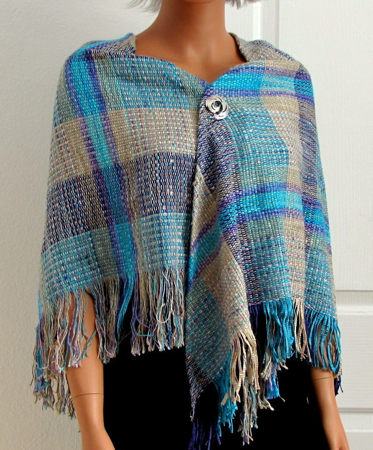 Handloomed Turquoise Plaid Shawl Bonanza