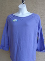 NEW Hanes Cotton Blend French Terry 3/4 Roll Tab Sleeve Boat Neck Top S Iris - £4.28 GBP
