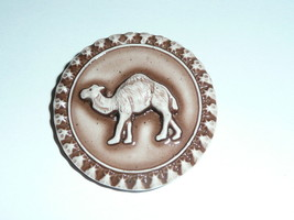 """Cute Round Chocolate Colored Camel Art Stone Shank Button 1-3/8"""" - Camel... - $6.64"""