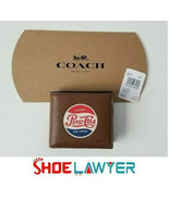 Coach Men's Wallet 3 In 1 Pepsi-Cola Motif Pebbled Leather Brown Saddle ... - $42.56