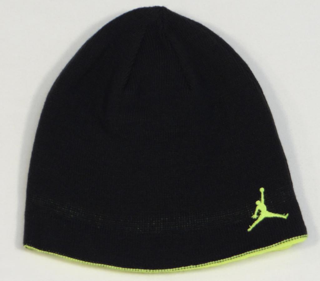 247f63331f3 S l1600. S l1600. Previous. Nike Jordan Jumpman Reversible Black   Lime Beanie  Skull Cap Youth Boys ...