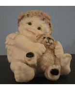 Wax Cherub Angel Seated Hugging Teddy Bear Candle Christmas - $6.99