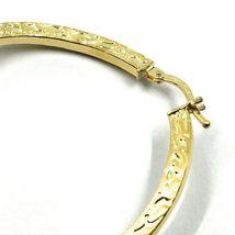 18K YELLOW GOLD CIRCLE HOOPS PENDANT EARRINGS, 4 cm x 2 mm WORKED & ONDULATE image 3