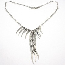 SILVER 925 NECKLACE, CHAIN OVAL, CASCADE HORNS HANGING, HORN, PENDANTS image 2