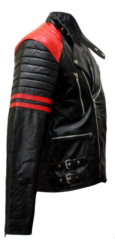 Brando Black Red Padded Power Shoulders Motorcycle Biker Genuine Leather Jacket image 2