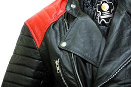 Brando Black Red Padded Power Shoulders Motorcycle Biker Genuine Leather Jacket image 3