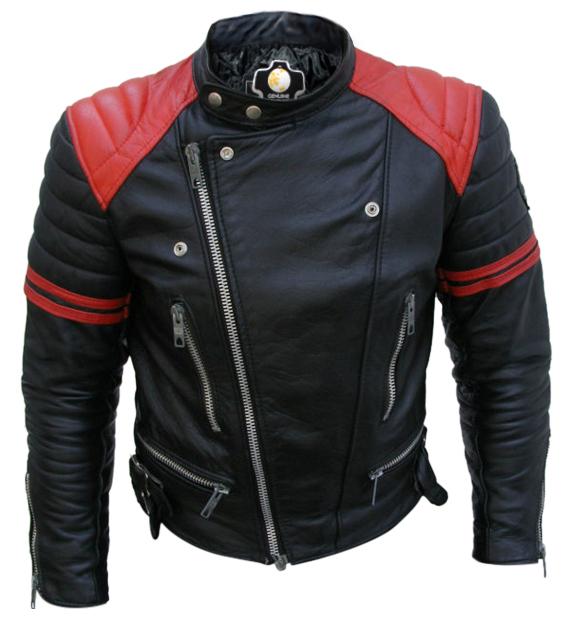 Brando Black Red Padded Power Shoulders Motorcycle Biker Genuine Leather Jacket