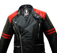 Brando Black Red Padded Power Shoulders Motorcycle Biker Genuine Leather Jacket image 4