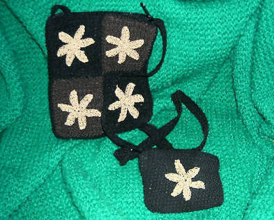 Black Crocheted Small Shoulder Bag with Coin Purse