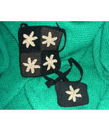 Black Crocheted Small Shoulder Bag with Coin Purse - $9.00