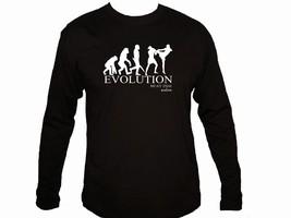 Muay Thai boxing evolution martial arts MMA 100% cotton black sleeved t-... - €12,95 EUR