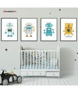 Creative Cartoon Robot A4 Canvas Art Painting Print And Poster Wall Art - $6.77+
