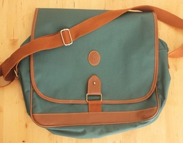 VTG Ralph Lauren Green Canvas Brown Crossbody Messenger Bag Shoulder Lap... - $19.95