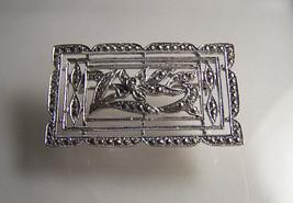 Vtg 1960's Art Deco Sterling Silver Marcasite Geometric Rectangle Floral... - $28.47