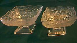 TWO VINTAGE DIAMOND SHAPE INDIANA GLASS COMPOTE DISHES, PINEAPPLE FLORAL... - $37.12