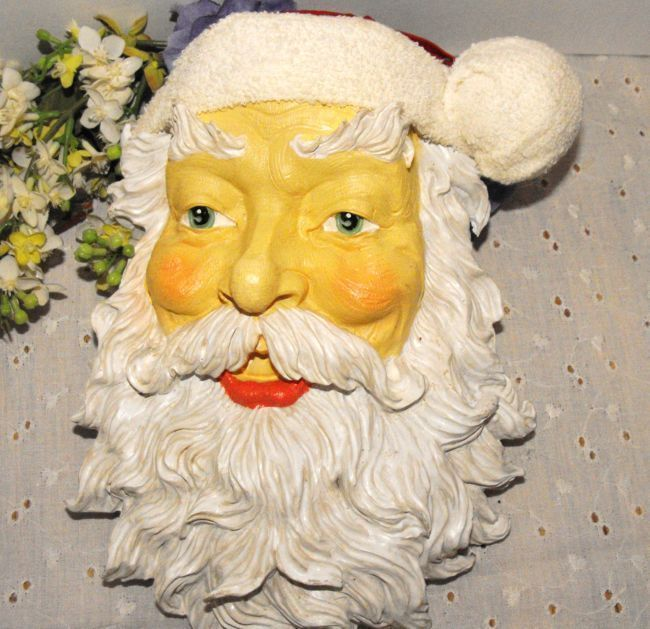 Santa Faces Christmas Crafts Poly Resin Lot of 5